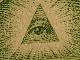 Classic Illuminati symbols - eye inside the pyramid.